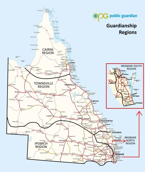 Guardianship map of regions as at March 2018